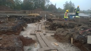 WP_20151104_010 Photo taken 04-11-2015 shows the last section of sub-structure being built to KS1 and 2 wings.