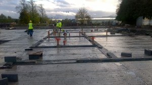 WP_20151111_001 Photo taken on the 11-11-2015 shows the first section of super-structure at KS1 wing commence on site internal wall setting out can be seen